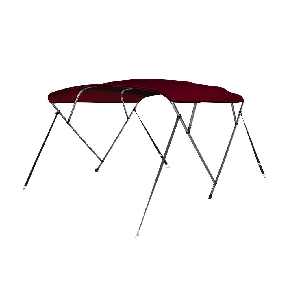 Seamander 3-4 Bow Bimini Top Boat Cover 4 Straps for Front and Rear Includes with Mounting Hardware(Included Support Pole)
