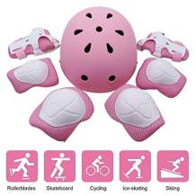 Kids Helmet Knee Pads, 7-in -1 Kit Protective Gear Adjustable for 3-8 Years Boys and Girls, Suitable for Toddler Helmet Bike Skateboard Helmet Youth Hoverboard Cycling Scooter Rollerblading