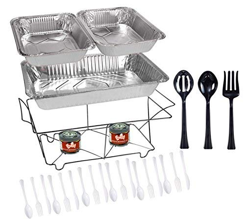 Tiger Chef 33-Piece White Food Warmer Chafing Dish Buffet Set, Disposable Chafing Dishes with Colorful Baking Pans, Fuel Gel Burns 2.5 Hours, Serving Utensils and Plastic Cutlery