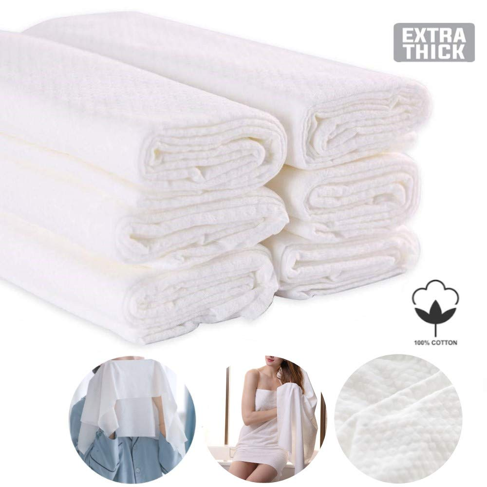COSMOSS 6pcs Disposable US Grade 100% Cotton Single Use Linen Feel Shower Bath Big Towels 52-by-26-inch