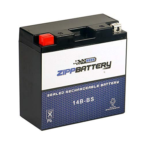 Rechargeable YT14B-BS AGM Powersport Battery- Replaces YT14B-BS, UT14B-BS, YT14B-4, ATX14BBS- With Durable Terminals- Zipp Battery