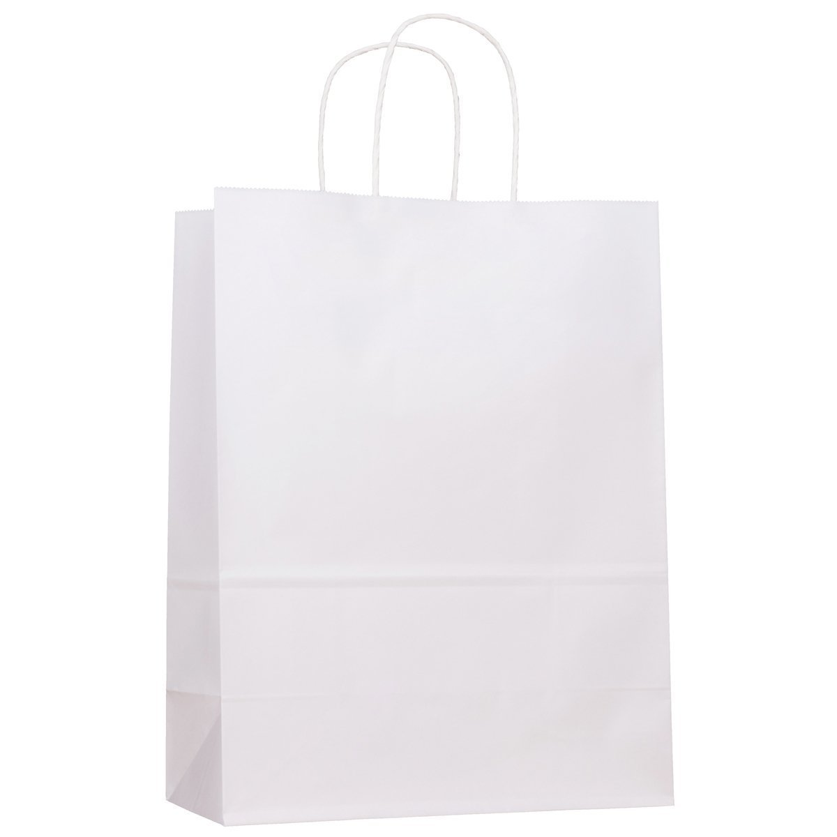 25 Packs-White Kraft Paper Gift Bags Bulk with Handles 13 X 7 X 17. Ideal for Shopping, Packaging, Retail, Party, Craft, Gifts, Wedding, Recycled, Business, Goody and Merchandise Bag (White, 25 Bags)