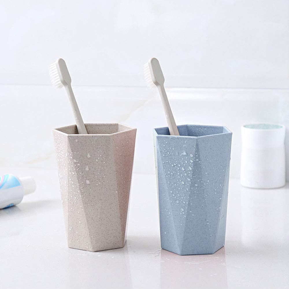 Bathroom Toothbrush HoldersCup 2 PCS - Eco Friendly Healthy Wheat Straw Biodegradable MaterialMug Unbreakable Drink Couple Cupfor Water Coffee Tea Milk Juice