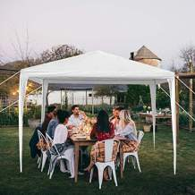 MTFY 10'x10'ft Outdoor Party Wedding Canopy Tent, Portable White Gazebo Tent for Outdoor Event Waterproof, UV Protection Beach Sun Shelter, Removable Sidewalls, Upgraded Spiral Tube