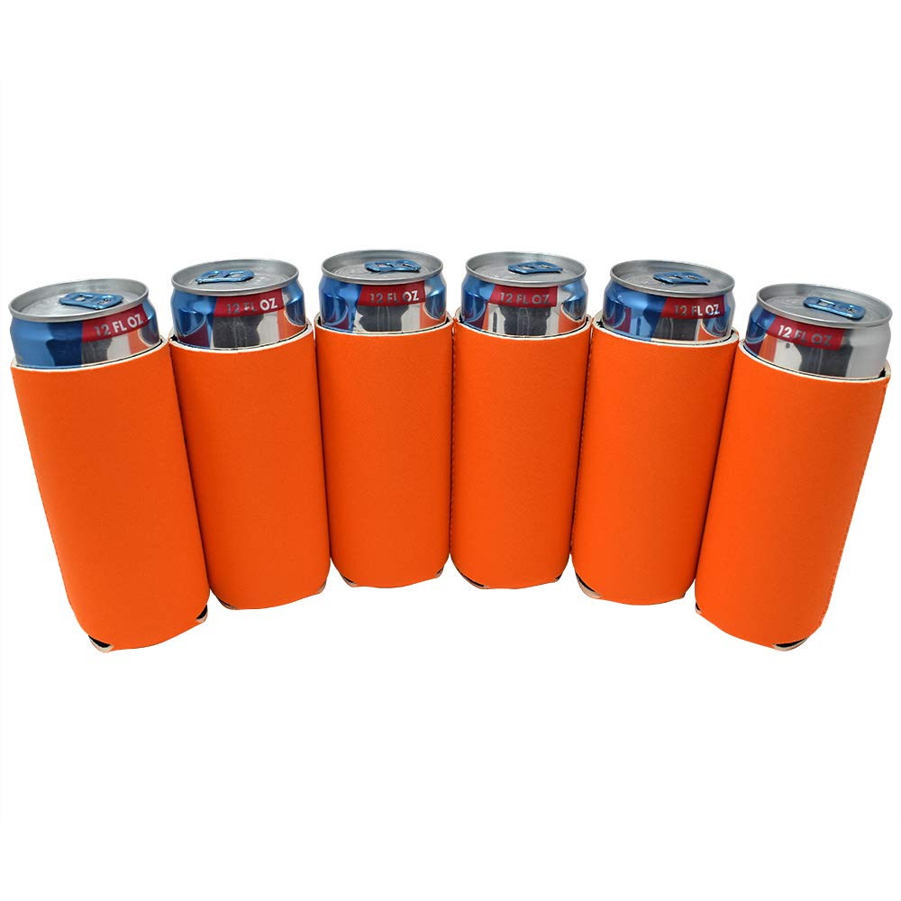 TahoeBay 12 Slim Can Sleeves - Blank Neoprene Beer Coolers – Compatible with 12oz RedBull, Michelob Ultra, White Claw Spiked Seltzer (Orange, 12)