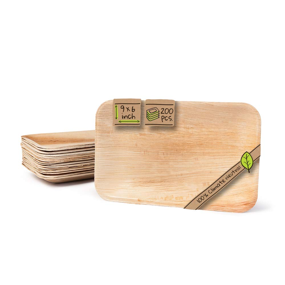 """Naturally Chic Palm Leaf Biodegradable Plates   9 x 6"""" Rectangle Compostable Disposable Small Dinnerware Set - Eco Friendly - Plates for Weddings, Parties, BBQs, Events (200 Pack)"""