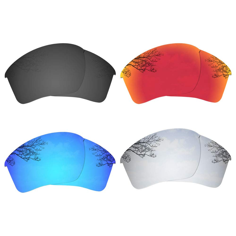 Dynamix 4 Pairs Polarized Replacement Lenses for Oakley Half Jacket 2.0 XL OO9154 - Solid Black/Fire Red/Ice Blue/Titanium