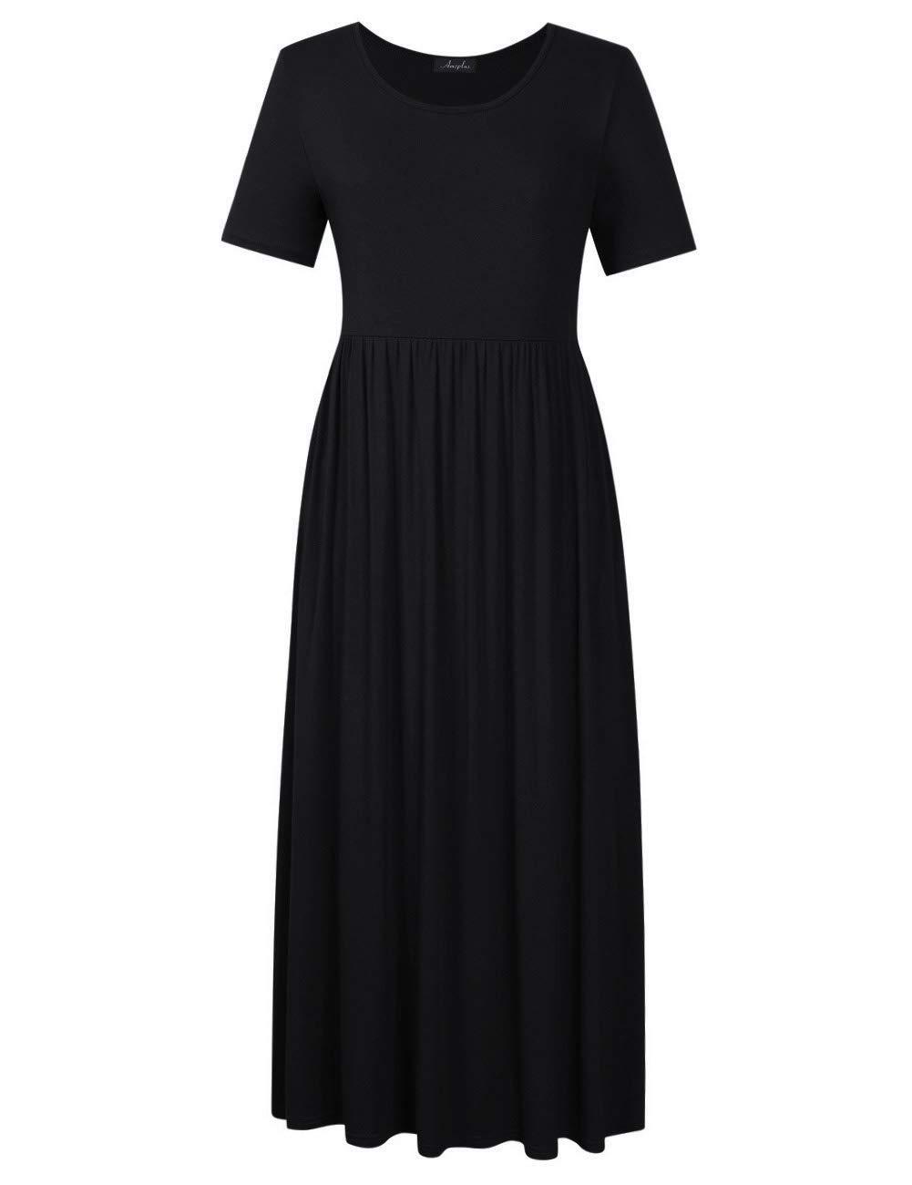 AMZ PLUS Women Short Sleeve Floral Bohemian Plus Size Beach Maxi Dress Black 4XL