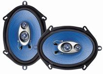 "5"" x 7"" Car Sound Speaker (Pair) - Upgraded Blue Poly Injection Cone 3-Way 300 Watts w/ Non-fatiguing Butyl Rubber Surround 80 - 20Khz Frequency Response 4 Ohm & 1"" ASV Voice Coil - Pyle PL573BL"