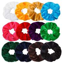 Jaciya 12 Pack Hair Elastics Scrunchies Velvet Scrunchy Bobbles Elastic Hair Bands Hair Ties, 12 Colors