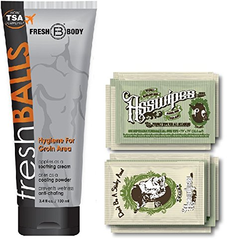 Fresh Balls and ASSWIPES to Go Single Packets! with 15 Flushable Individually Wrapped Cleansing Hygiene Wipes with Vitamin E and Aloe Plus One Bottle of Fresh Balls Antiperspirant!
