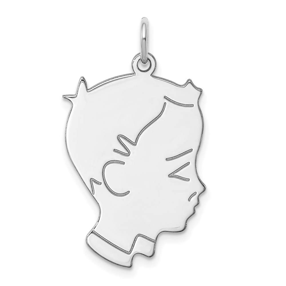 Sterl Silver Rh Plt Engraveable Boy Front Back Disc Pendant Charm Necklace Engravable Right Facing Girl Head Pre Engraved Fashion Jewelry For Women Gifts For Her
