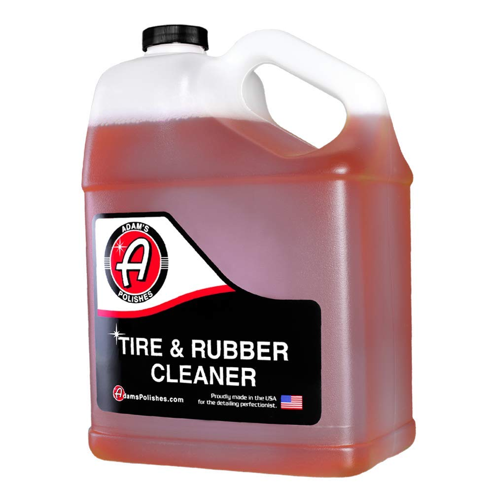 Adam's Tire & Rubber Cleaner - Car Wash Tire Cleaner | Tough Car Detailing Formula | Car Cleaning Kit Removes Discoloration From Rubber Plastic Trim Floor Mats | Wheel Cleaner Tire Shine Detail Brush