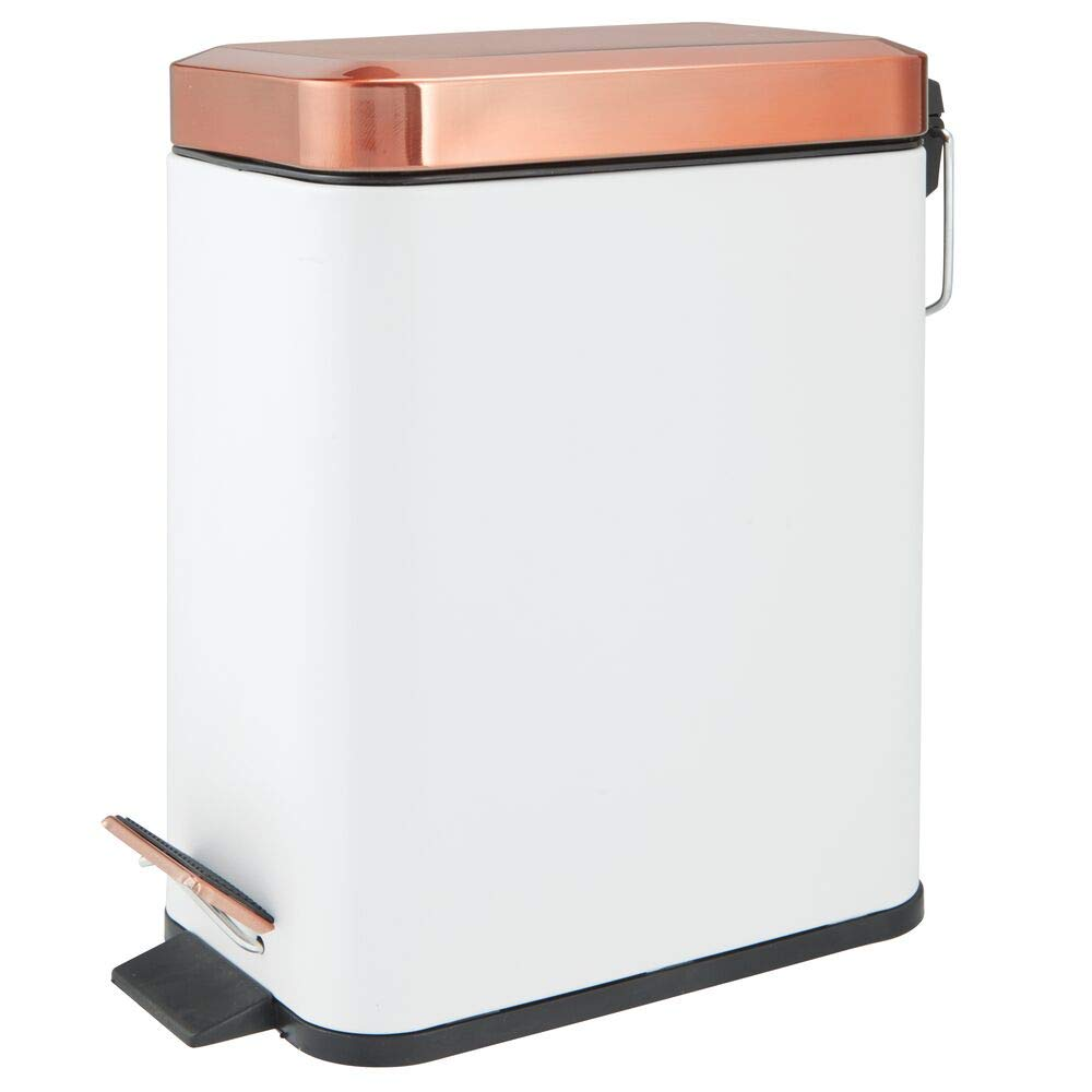 mDesign 1.3 Gallon Rectangular Small Steel Step Trash Can Wastebasket, Garbage Container Bin for Bathroom, Powder Room, Bedroom, Kitchen, Craft Room, Office - Removable Liner Bucket - White/Rose Gold