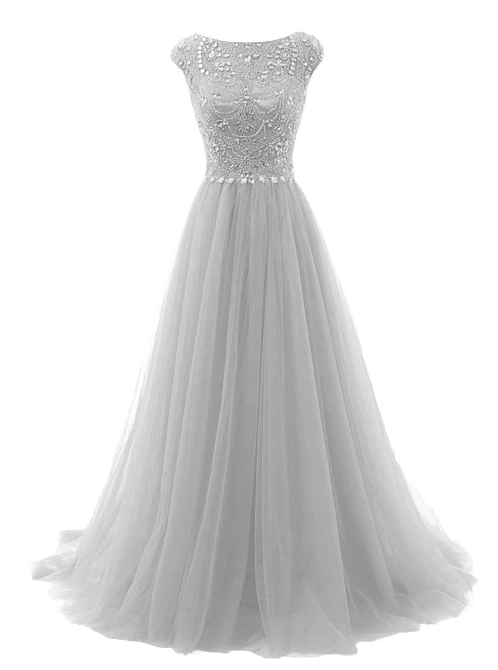Promworld Women's Wedding Bridesmaid Dress Cap Sleeve Crystal Tulle Long Prom Dresses