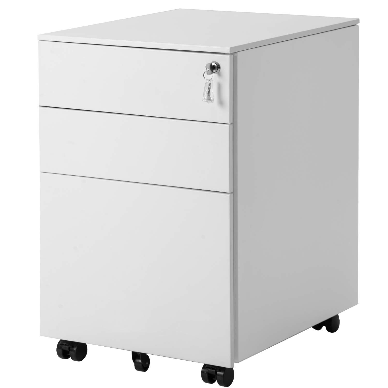 Binrrio Office Cabinet, Three Drawer File Cabinet Mobile Metal Lockable Filing Cabinet Under Desk Fully Assembled Except for 5 Castors (White)