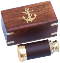 "Hampton Nautical  Scout's Brass/Leather Spyglass Telescope with Rosewood Box, 7"", Brass"