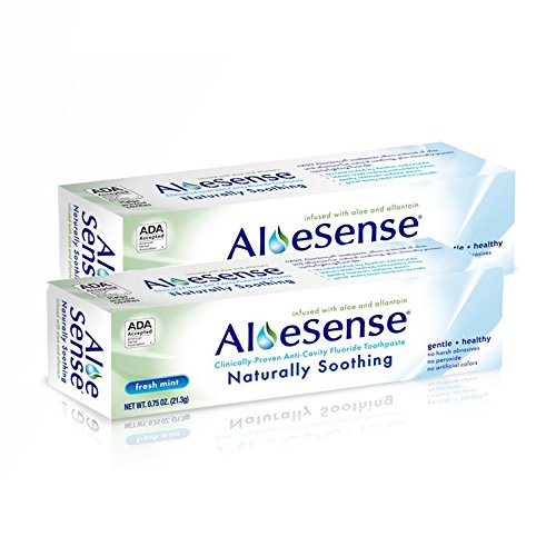 AloeSense Naturally Soothing Fluoride Toothpaste, Fresh Mint, 0.75 oz Travel Size (2 Count)