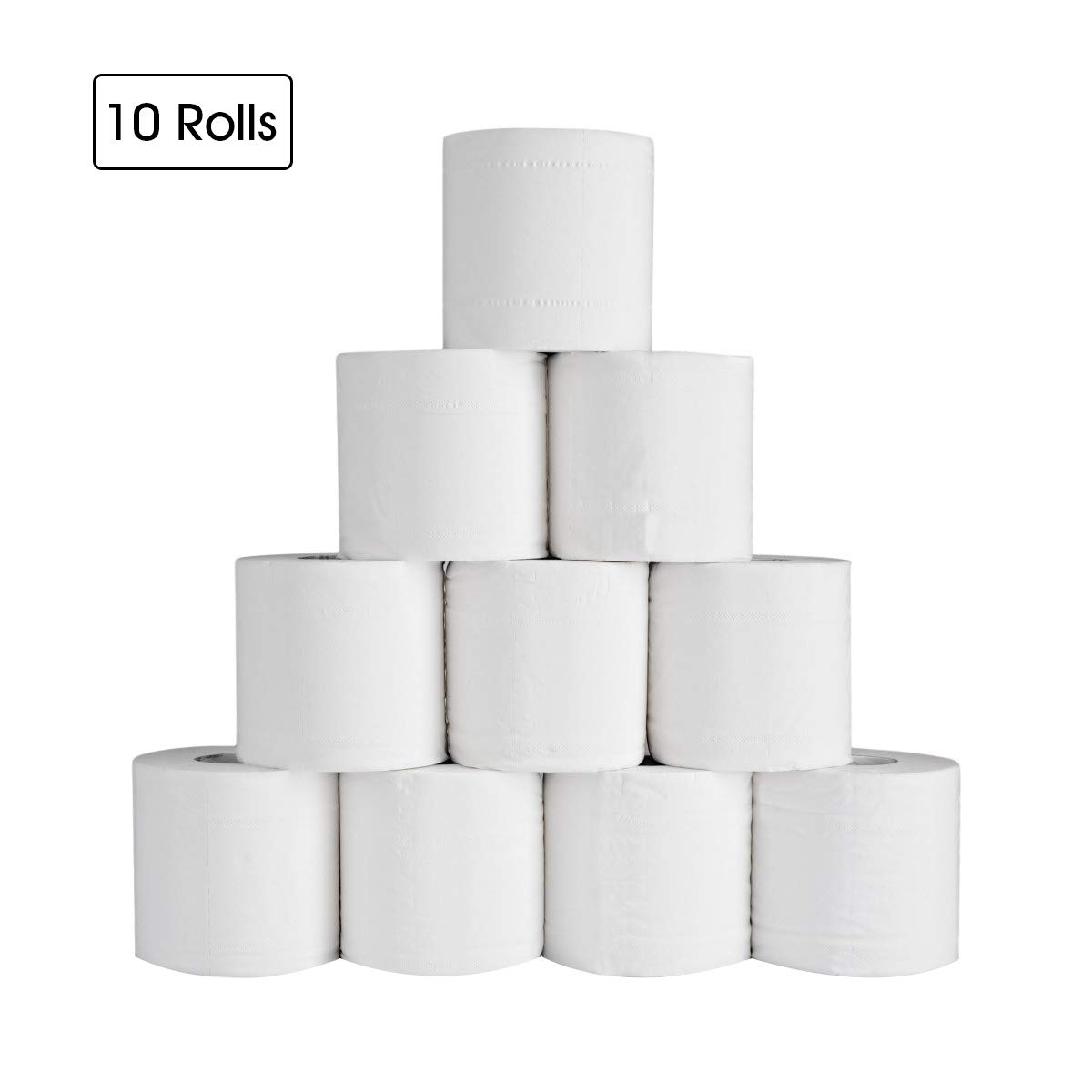 MDDYF Soft Toilet Paper 10 Rolls, 4-Ply Comfortable Thick Bathroom Tissues Skin-Friendly Roll Paper, Highly Absorbent Paper Tissue for Home, Kitchen, Toilet