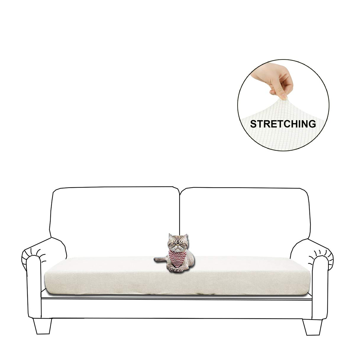 Picture of: Womaco Couch Cushion Covers Water Repellent Cushion Sofa Cover Spandex Couch Seat Protector Off White Loveseat Cushion