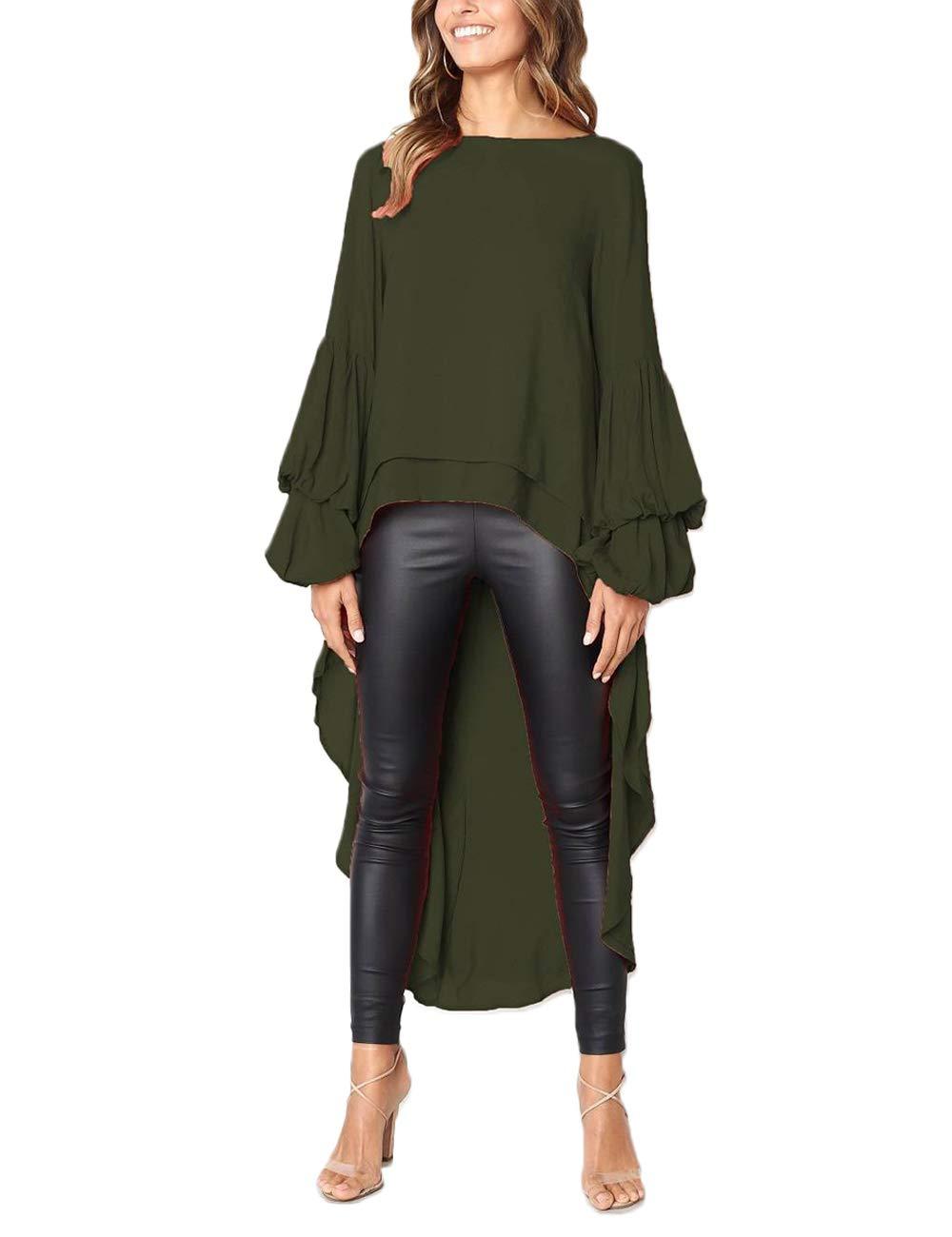 PICK YOUR LOOK Women's Lantern Long Sleeve Tunic Asymmetrical Top Blouse Shirt Dress