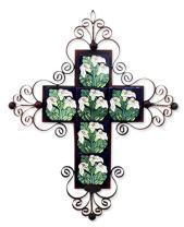 NOVICA Cross Ceramic and Metal Candle Sconce, Multicolor, Calla Lily Cross'