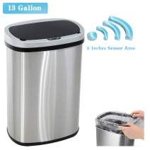XXFBag Stainless Steel Garbage Trash Can 13 Gallon(50L) Kitchen Trash Can Touch Free Automatic Sensor Trash Bin with Lid Home Bathroom Office Restroom Brushed Large Dustbin,Silver