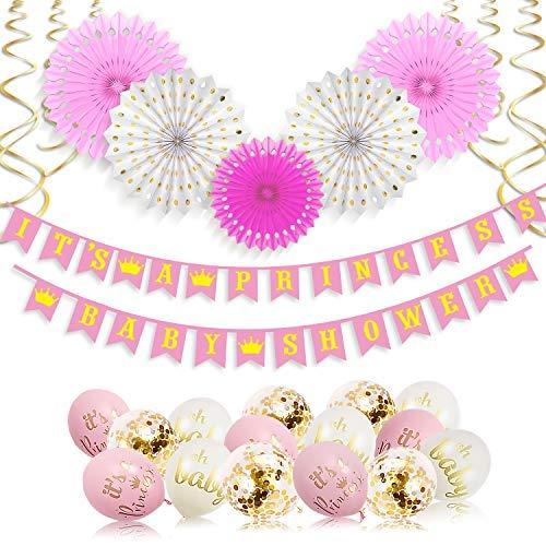 Xonara Its A Princess Baby Shower Decorations for Girl - 55 Piece Girls Baby Shower Decoration Pink/White/Gold/Rose Gold - Girls Baby Shower Banner, Balloons, Princess Theme - Its a Girl Decorations