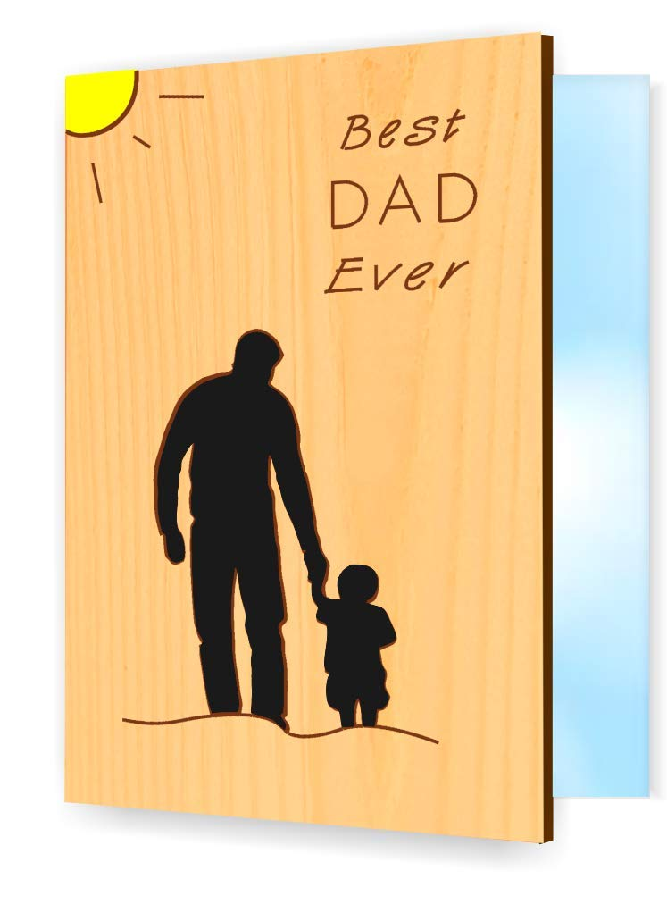 Real Wood Little Boy with Dad Greeting Card Happy Birthday Gift Get Well Thank You Fathers Day Small Wooden Present for Daddy Step God Father Stepfather Godfather from Son E (Dad with Son)