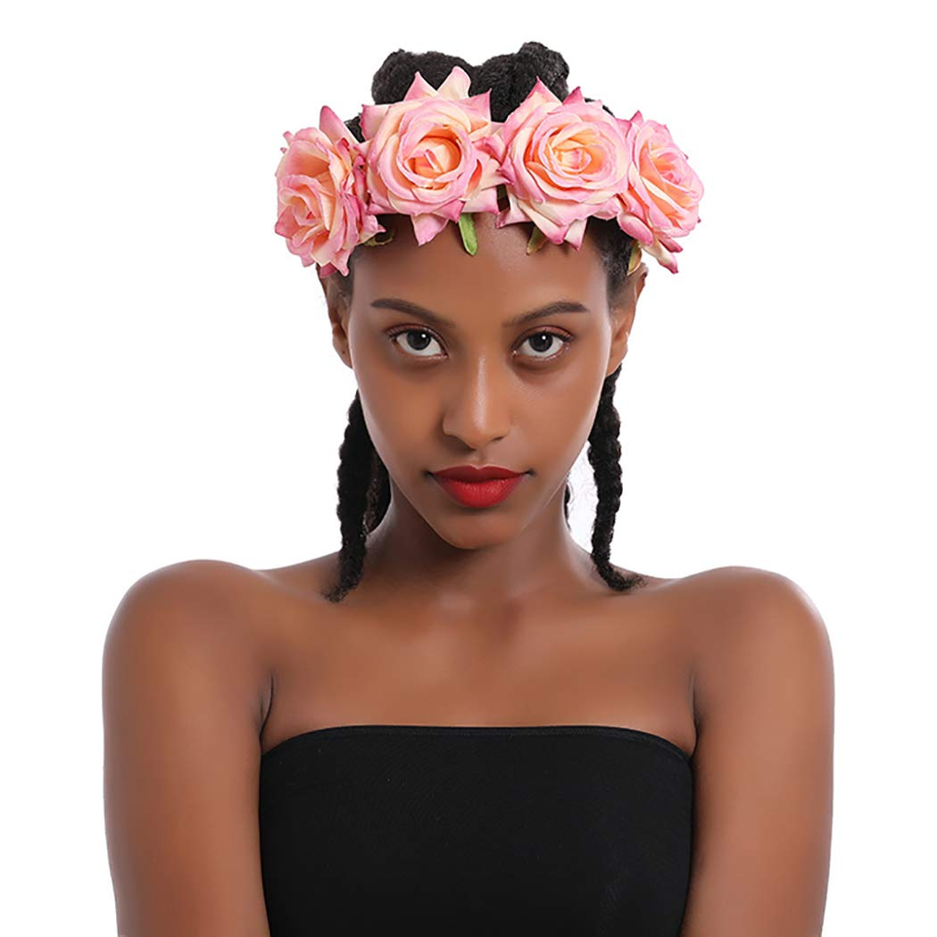 Fstrend Rose Flower Crown Wedding Bride Flower Wreath Headband Pink Hair Garland Bridal Wedding Headpiece for Women and Girls