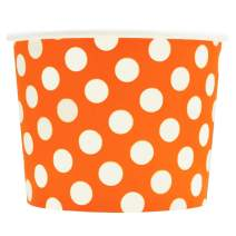 Orange Paper Dessert Cups - 12 oz Polka Dotty Ice Cream Bowls - Perfect For Your Yummy Foods! Many Colors & Sizes - Frozen Dessert Supplies - 100 Count