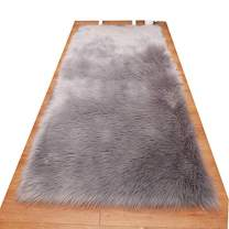 HUAHOO Faux Fur Sheepskin Rug Light Gray Kids Carpet Soft Faux Sheepskin Chair Cover Home Décor Accent for a Kid's Room,Childrens Bedroom, Nursery, Living Room or Bath. 6' x 8' Rectangle