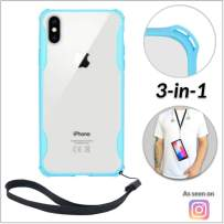 New iPhone 7 Plus & 8 Plus Clear Slim Case with Wrist Strap & Lanyard | Best Rugged TPU Bumper Case | Loop Attachments for Leash, Tether etc – iPhones: Xs X Xr Xs Max X 8 7 6 6s Plus (Light Blue)