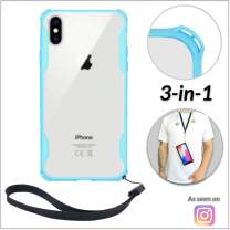 New iPhone 6 & 6s Clear Slim Case with Wrist Strap & Lanyard | Best Rugged TPU Bumper Case | Loop Attachments for Leash, Tether etc – iPhones: Xs X Xr Xs Max X 8 7 6 6s Plus (Light Blue)