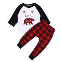 Newborn Baby Boy Clothes Crew Letter Print Romper Plaid Pants+Hat 3pcs Outfits Set, Soft Breathable Fabric