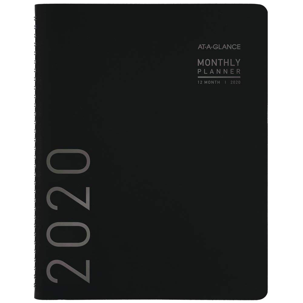 """AT-A-GLANCE 2020 Monthly Planner, 7"""" x 8-3/4"""", Medium, Contemporary, Black Cover (70120X05), 70120X0520"""