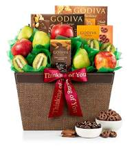 GiftTree Fresh Fruit & Godiva Thinking of You Gift Basket | Includes Gourmet Chocolates and Confections from Godiva | Fresh Pears, Crisp Apples, Premium Kiwis in a Keepsake Container