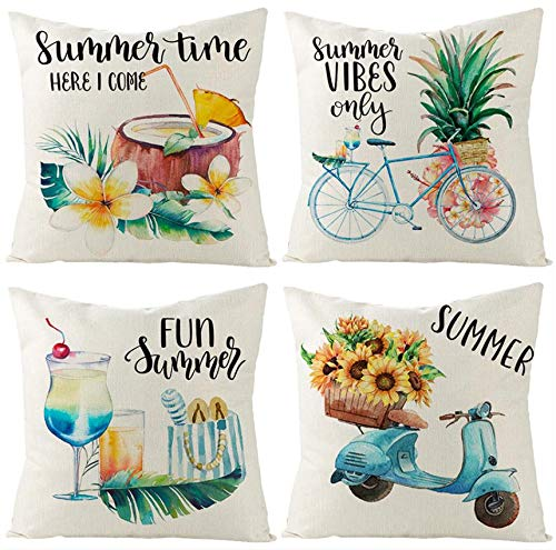 FIBEROMANCE Summer Pillow Covers 18x18 inches Set of 4 Pineapple Coconut Drink Bicyle Motorcycle Decorative Throw Pillow Cover Cushion Cover Farmhouse décor for Sofa Couch Outdoor Home Decoration