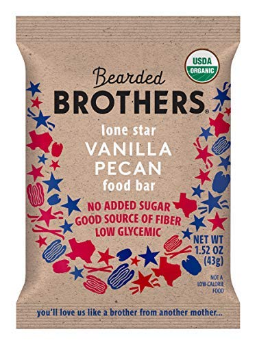 Bearded Brothers Vegan Organic Food Bar | Gluten Free, Paleo and Whole 30 | Soy Free, Non GMO, Low Glycemic, No Sugar Added, Packed with Protein, Fiber + Whole Foods | Vanilla Pecan | 5 Pack