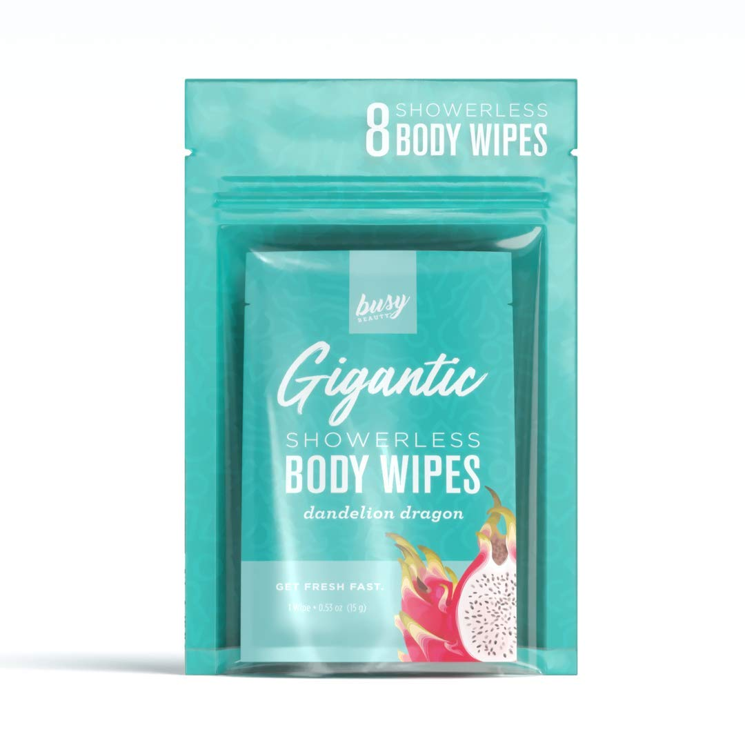 Busy Beauty   Gigantic Body Wipes   Showerless Cleaning   Plant-Based, Aluminum-Free, Natural   All Skin Types   Vegan   Cruelty-Free   Paraben-Free   8 Pack (Dandelion Dragon)