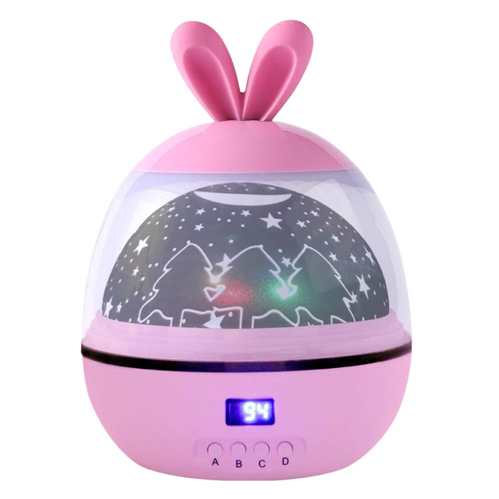 Katech Night Lights for Kids with Timer, Cute Baby Lights 360 Degree Rotating Colors Changing Projector Lamp for Decorating Children Bedroom, Birthdays, Christmas Gift, Home Decor and Party (Pink)