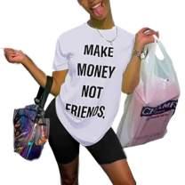 Women's 2 Piece Outfits Romper Letter Print T-Shirts Bodycon Shorts Tracksuit Set Workout Jumpsuits Clubwear Plus Size