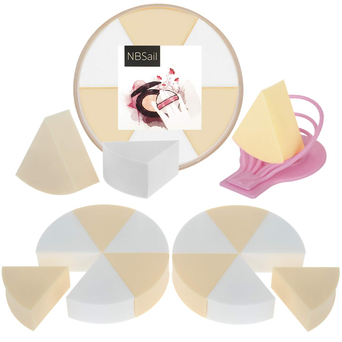 NBSail Makeup Sponges Wedge for Loose setting powder and Liquid Foundation,18 PCS