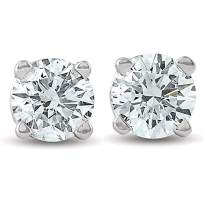 1/2Ct Round Brilliant Cut Diamond Stud Earrings in 14K Gold Classic Setting