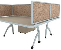 """12"""" Acoustical Desk Mounted Privacy Panel, 12"""" X 24"""", Almond/Aluminum"""