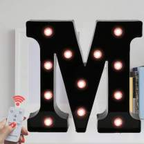 Oycbuzo Marquee Letter Sign Lights – Light Up Black Letters Home Decor Name Signs – Battery Operated LED Remote Timer – Lighted Vintage Accessories & Decorations