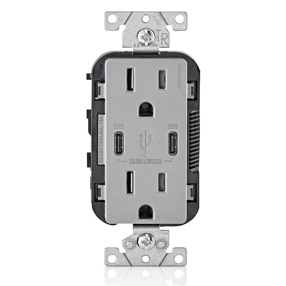 Leviton T5635-G USB Dual Type-C with Power Delivery (PD) In-Wall Charger with 15 Amp, 125 Volt Tamper-Resistant Outlet, Gray with Screwless Wallplates, 6-Pack