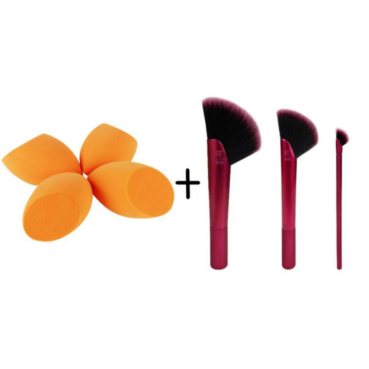 Real Techniques Rebel Edge Makeup Brush Trio with 4 Miracle Complexion Sponge Blenders, Ideal for Foundation, Bronzer, Eyeshadow, and Highligher, Set of 7
