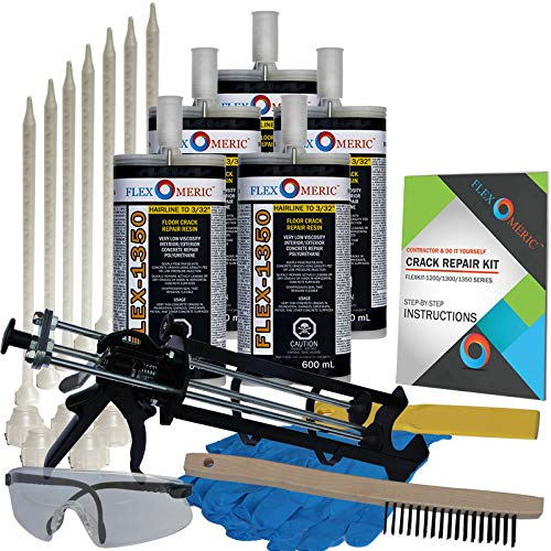 Concrete Floor Crack Repair Kit - Very Low Viscosity Polyurethane - FLEXKIT-1350-50