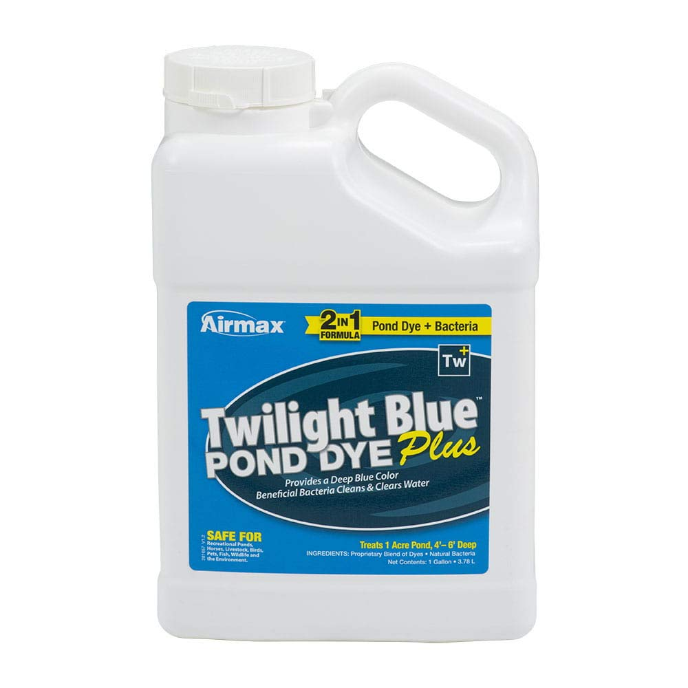 Airmax Twilight Blue Pond Dye Plus with PondClear Beneficial Bacteria, Cleans & Clears Water, Safe for The Environment - Case of 4x1 Gallon